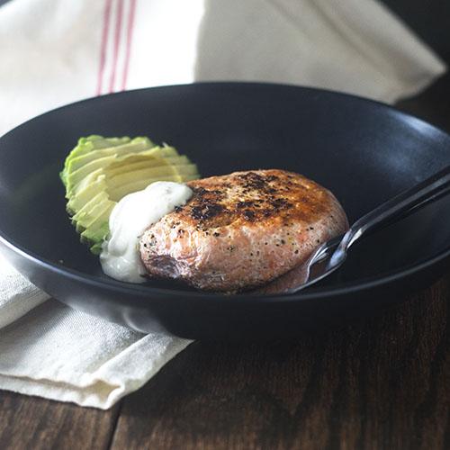 Poached Salmon Burger #dinner #glutenfree #salmon #sitkasalmonshares | feedyoursoul2.com