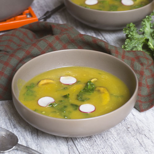Vegan Acorn Squash Kale Soup from Feed Your Soul Too