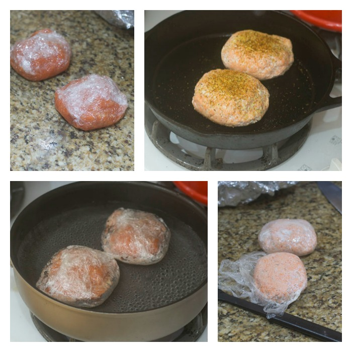 Wrapping, Poaching and Searing of the Salmon Burgers
