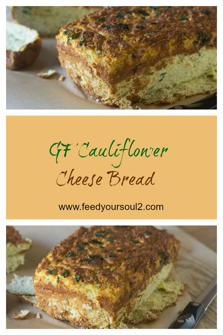 GF Cauliflower Cheese Bread #bread #glutenfree #caulifower | feedyoursoul2.com