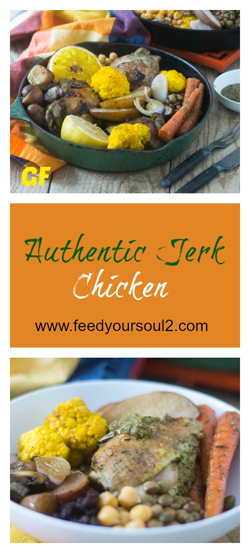 Authentic Jerk Chicken #chicken #glutenfree #peppers #caribbeanfood | feedyoursoul2.com