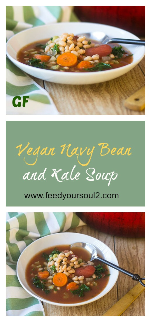 Vegan Navy Bean and Kale Soup #soup #glutenfree #vegan #beans | feedyoursoul2.com