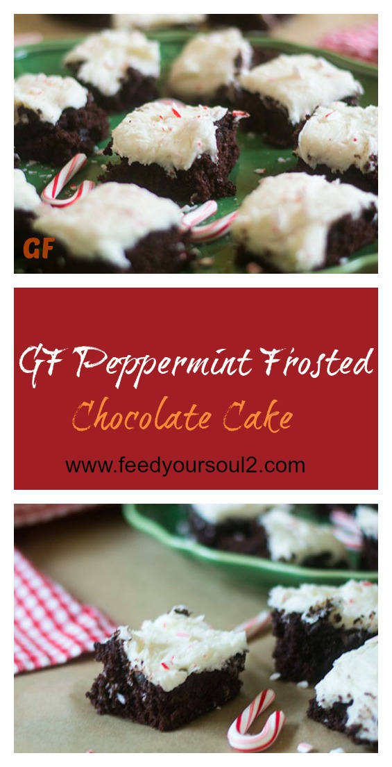 GF Peppermint Frosted Chocolate Cake #holiday #glutenfree #candycanes #chocolate | feedyoursoul2.com
