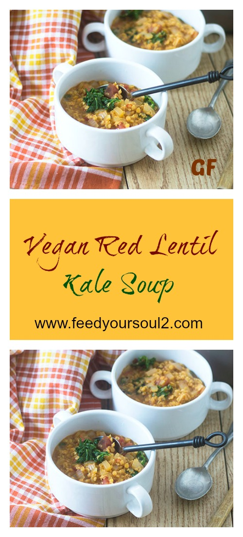 Vegan Red Lentil Kale Soup #vegan #glutenfree #soup #redlentils | feedyoursoul2.com
