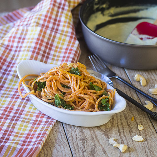 Sweet Potato Vegan Alfredo #vegan #glutenfree #sweetpotatoes #alfredo | feedyoursoul2.com