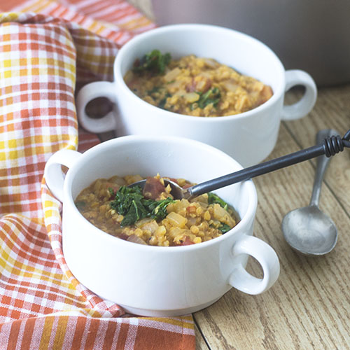 Vegan Red Lentil Kale Soup from Feed Your Soul Too
