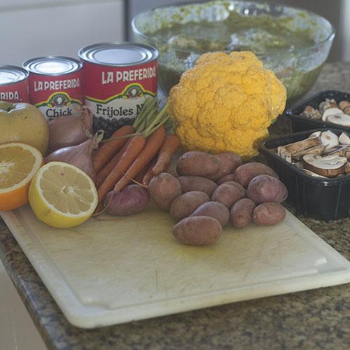 Vegetable Ingredients for Jerk Stew
