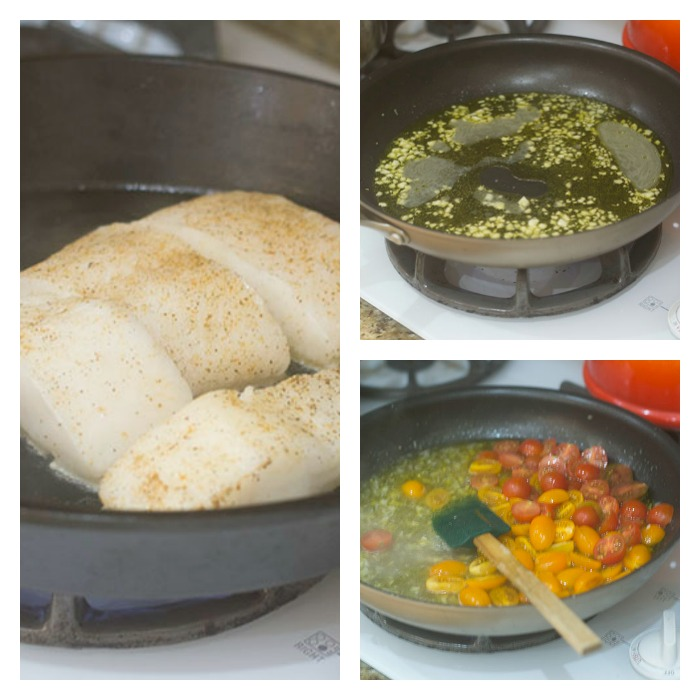 The white wine garlic sauce and the Chilean Sea Bass in a cast iron skillet
