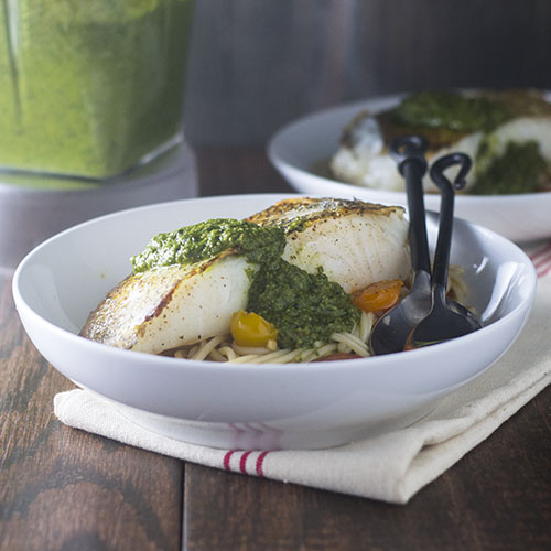 Pesto Topped Chilean Sea Bass from Feed Your Soul Too
