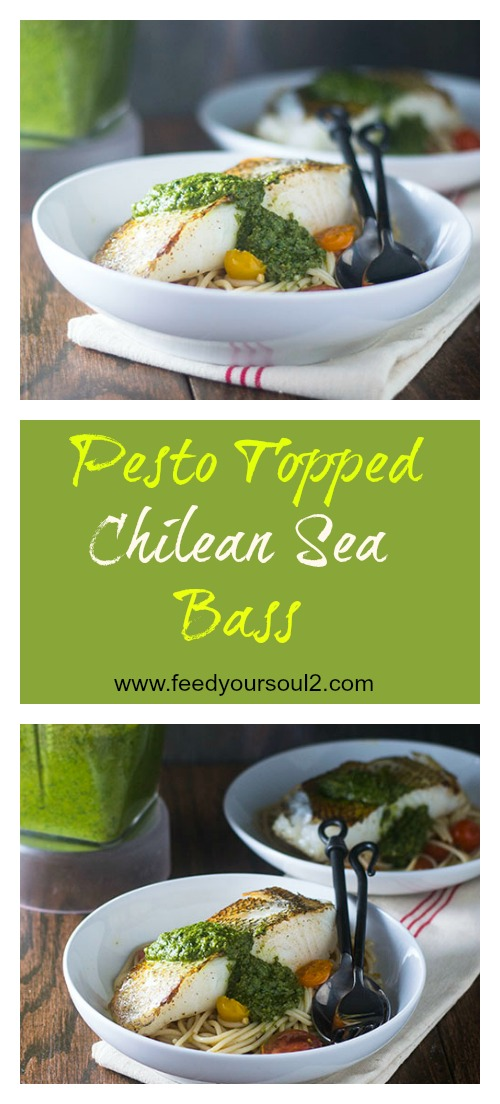 Pesto Topped Chilean Sea Bass #seafood #glutenfree #whitewine | feedyoursoul2.com
