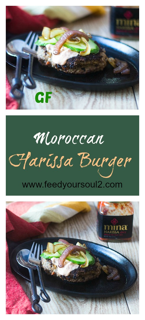 Moroccan Harissa Burger #Moroccan #glutenfree #turkey #burger | feedyoursoul2.com