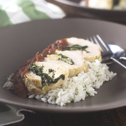 Greek Chicken Spinach Feta Roulade from Feed Your Soul Too
