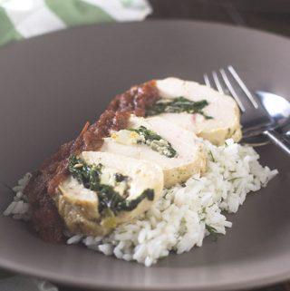 Greek Chicken Spinach Feta Roulade