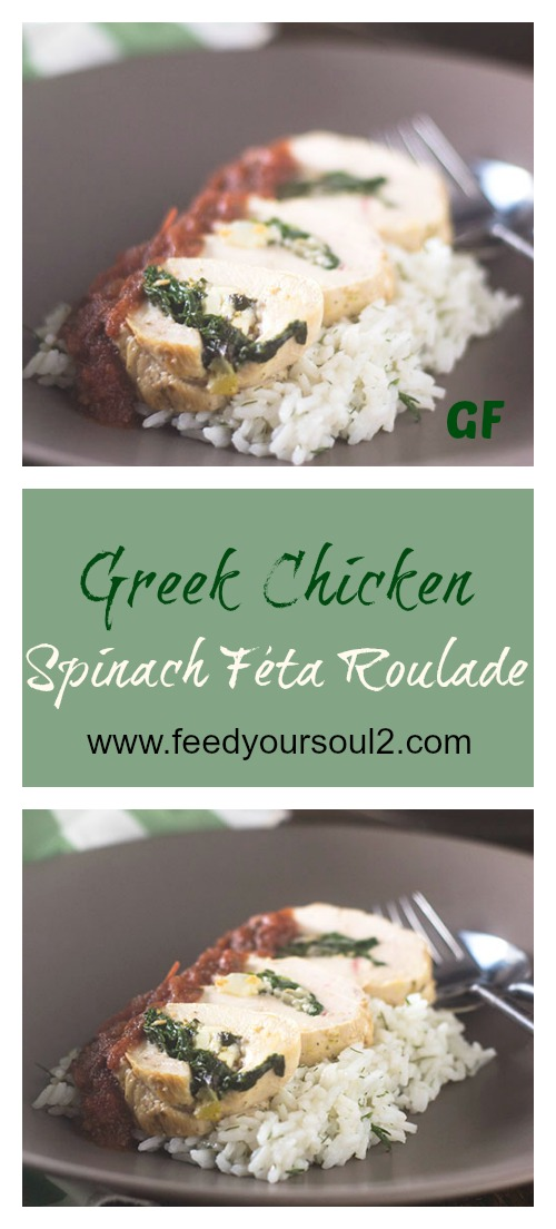 Greek Chicken Spinach Feta Roulade #Greek #glutenfree #roulade #chicken | feedyoursoul2.com