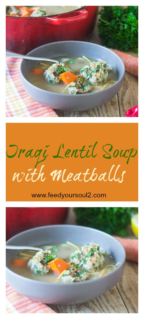 Iraqi Lentil Soup with Meatballs #soup #turkey #persianfood | feedyoursoul2.com