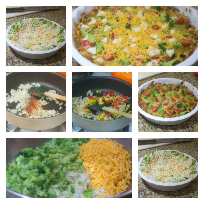 Building the Broccoli Potato Cheese Crust Frittata