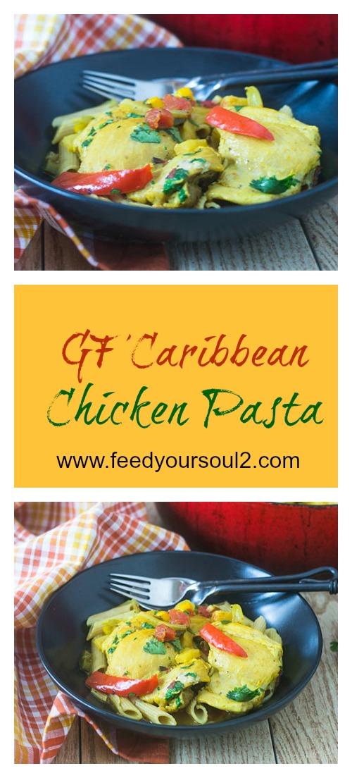 GF Caribbean Chicken Pasta #onepotmeal #chicken #glutenfree #caribbeanfood | feedyoursoul2.com