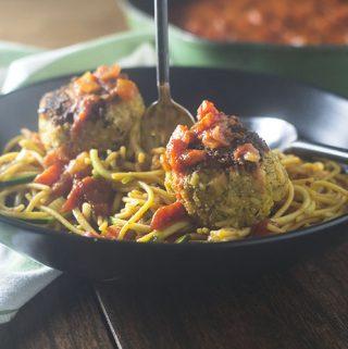 Vegan Meatballs over Gluten Free Pasta Marinara