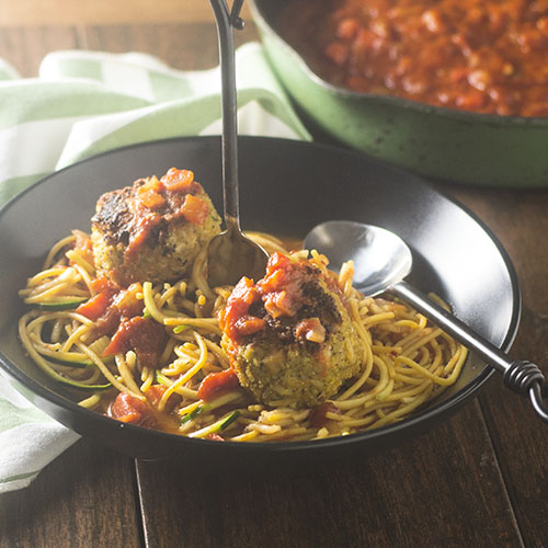 Vegan Meatballs over Gluten Free Pasta Marinara from Feed Your Soul Too