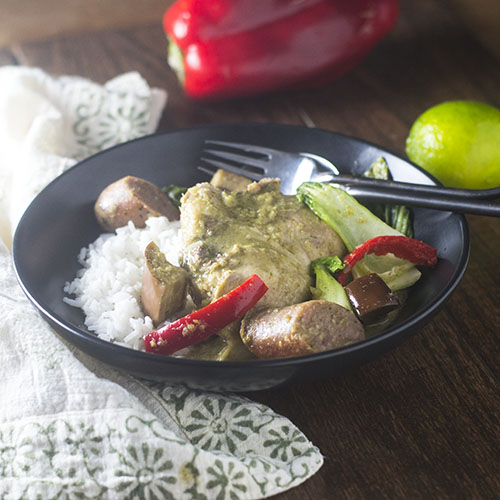Chicken & Sausage Green Curry Stew from Feed Your Soul Too