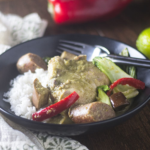 Chicken & Sausage Green Curry Stew Plated