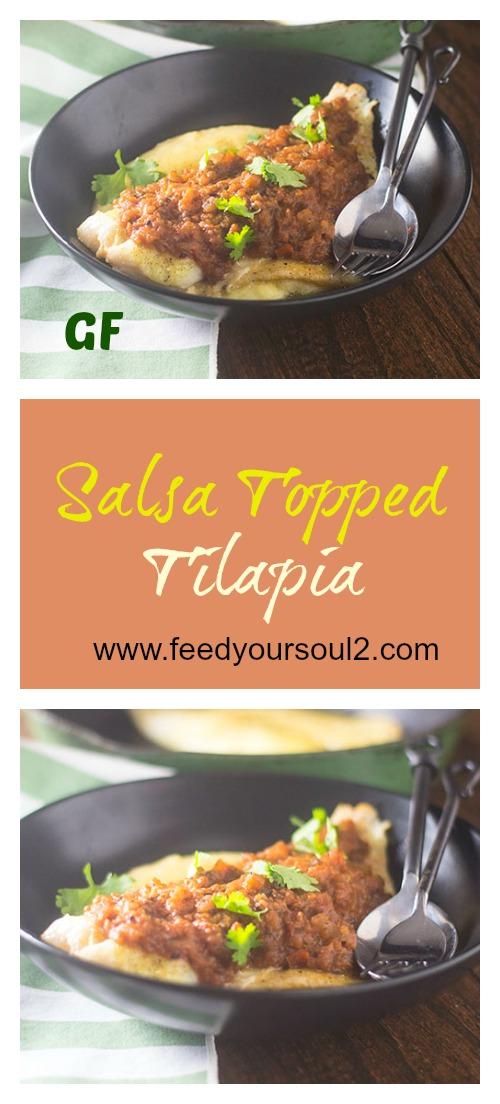 Salsa Topped Tilapia #seafood #salsa #glutenfree | feedyoursoul2.com