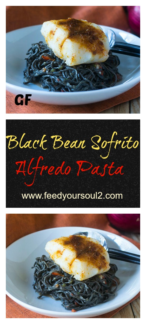 Black Bean Sofrito Alfredo Pasta #pasta #Italian #caribbean #blackbean #glutenfree | feedyoursoul2.com