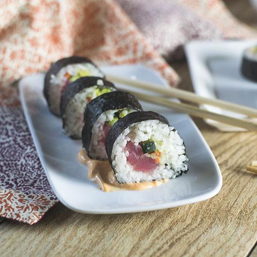 Spicy Tuna Rolls #seafood #sushi #glutenfree | feedyoursoul2.com