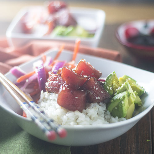 Tuna Poke Bowl #Hawaiianfood #tuna #sushi #glutenfree | feedyoursoul2.com