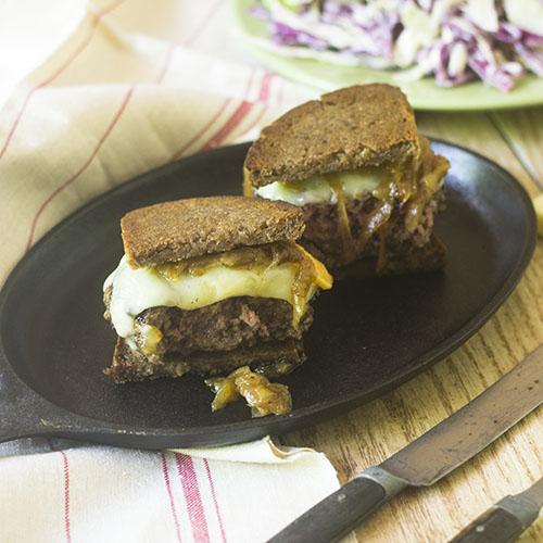 Gluten Free Patty Melt #burger #Onions #glutenfree | feedyoursoul2.com