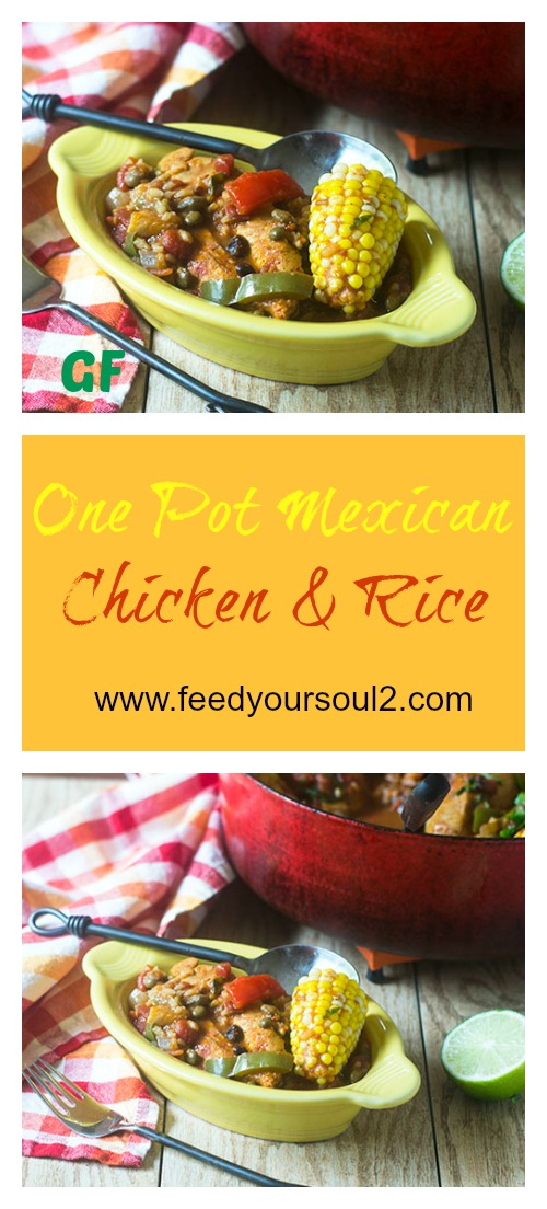 One Pot Mexican Chicken and Rice #onepotmeal #Mexicanfood #chicken #glutenfree | feedyoursoul2.com