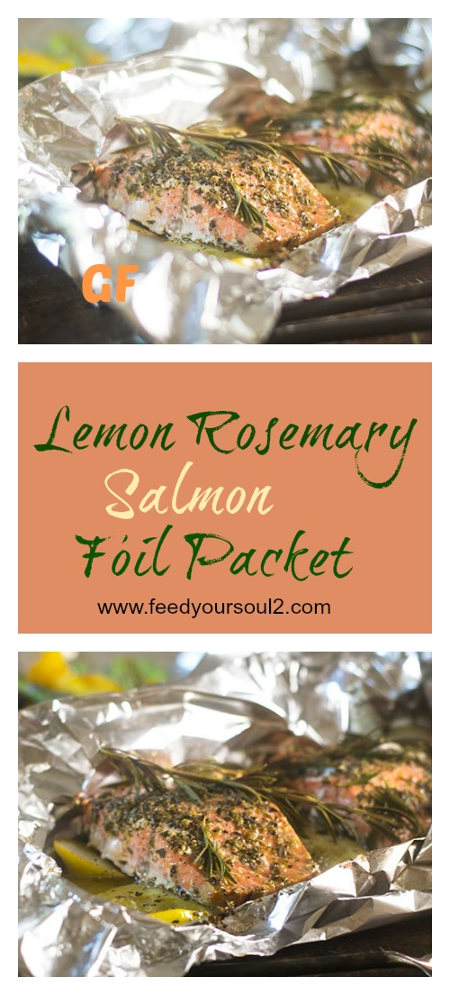 Lemon Rosemary Salmon Foil Packet #seafood #campfirefood #glutenfree | feedyoursoul2.com