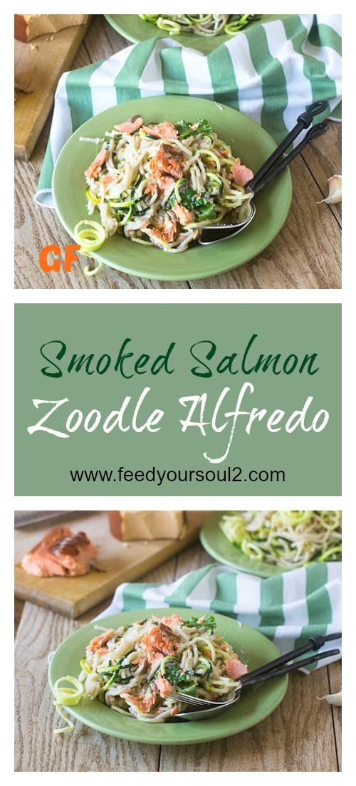 Smoked Salmon Zoodle Alfredo #pasta #zoodles #alfredo #glutenfree | feedyoursoul2.com
