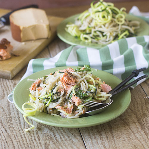 Smoked Salmon Zoodle Alfredo from Feed Your Soul Too