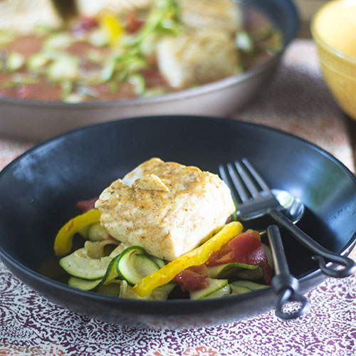 Thai Red Curry Poached Halibut from Feed Your Soul Too