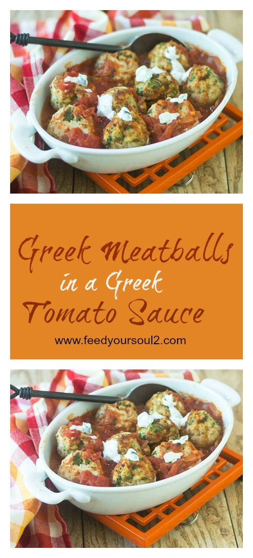 Greek Meatballs in a Greek Tomato Sauce #glutenfree #meatball #Greek | feedyoursoul2.com