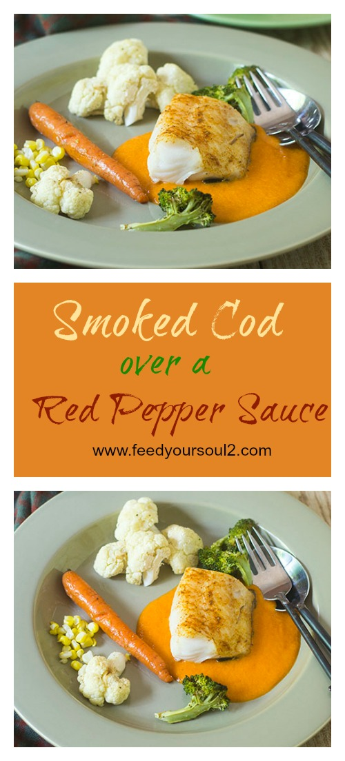Smoked Cod over a Red Pepper Sauce #glutenfree #seafood #smoked | feedyoursoul2.com