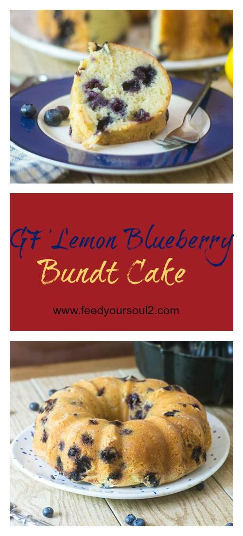 GF Lemon Blueberry Bundt Cake #glutenfree #cake #dessert | feedyoursoul2.com
