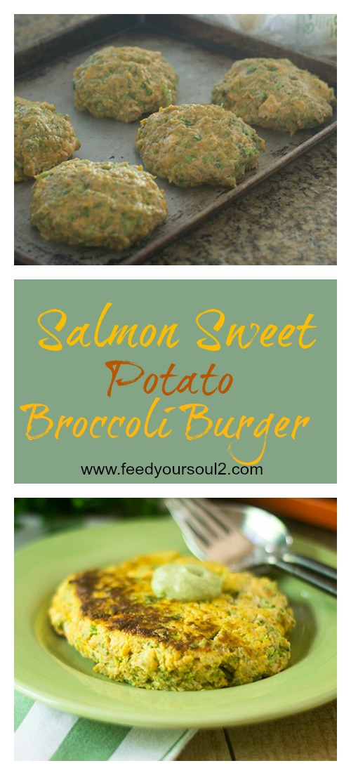 Salmon Sweet Potato Broccoli Burger #glutenfree #seafood #Sweetpotato #broccoli | feedyoursoul2.com