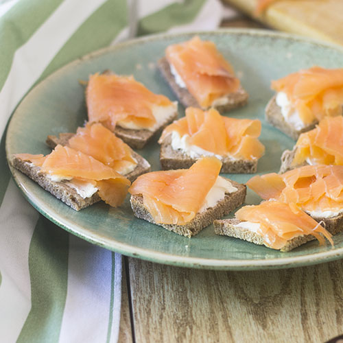 Salmon Cream Cheese GF Toast Points from Feed Your Soul Too
