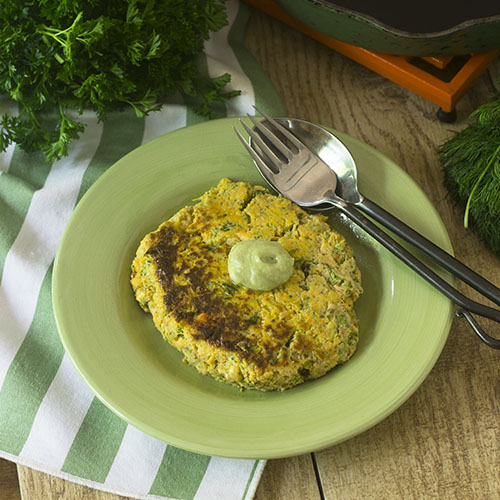Salmon Sweet Potato Broccoli Burger from Feed Your Soul Too
