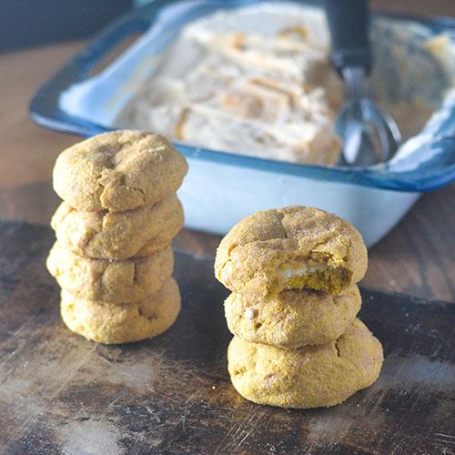 Cream Cheese Filled Pumpkin Snickerdoodles #cookies #glutenfree #dessert #pumpkin | feedyoursoul2.com