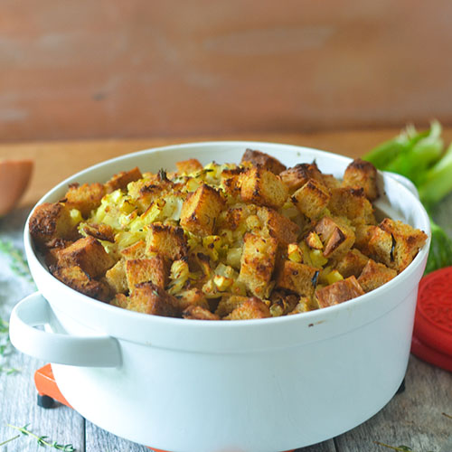 Gluten Free Apple Fennel Thanksgiving Stuffing from Feed Your Soul Too