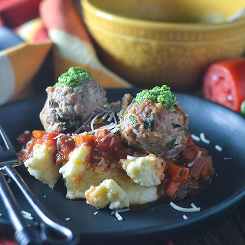 Italian Turkey Meatballs over Cheese Polenta from Feed Your Soul Too