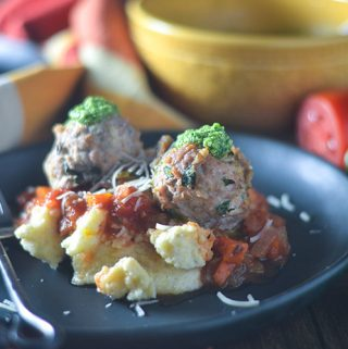 Italian Turkey Meatball over Cheese Polenta