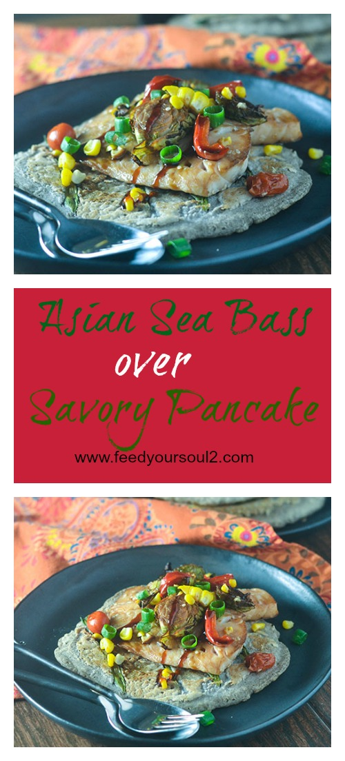Asian Sea Bass over Savory Pancakes #seafood #glutenfree #Asianrecipe #pancake | feedyoursoul2.com