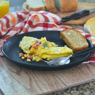 Hatch Chili Cheese Omelet with Corn Salsa