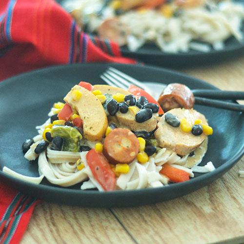 Creamy Mexican Chicken & Sausage Pasta #Italianfood #Mexicanfood #chicken #glutenfree | feedyoursoul2.com