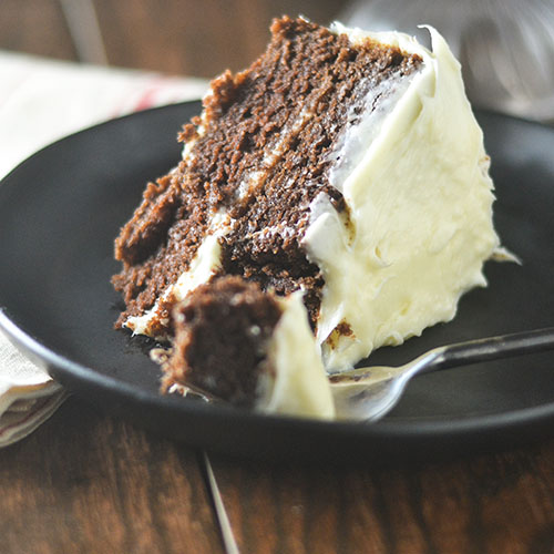 Lightened Up GF Chocolate Cake Cream Cheese Frosting #dessert #chocolate #creamcheese #glutenfree | feedyoursoul2.com