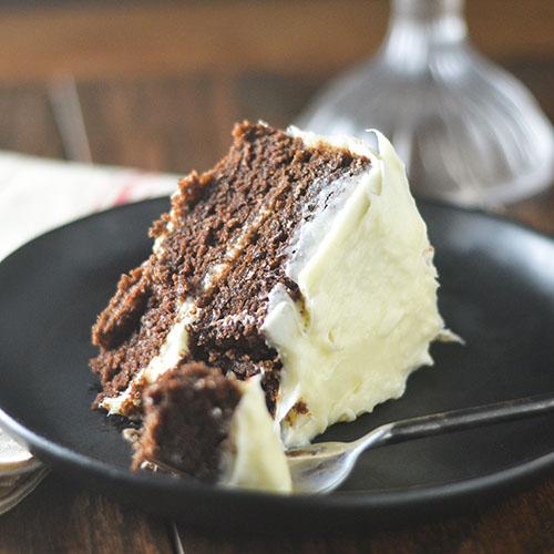 Lightened Up GF Chocolate Cake Cream Cheese Frosting #dessert #chocolate #creamcheese #glutenfree | feedyoursoul2.com